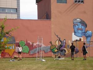 """Grafitī zīmējums jeb sienas gleznojums """"Veltījums Kandavai"""""""