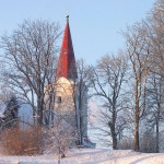Skats uz Kandavas ev. lut. baznīcu no Promenādes. Foto: Jānis Kamerāds